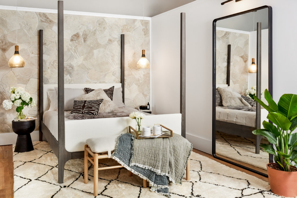 Bedroom designed by designer Ayesha Curry for Small/Cool Experience for Apartment Therapy